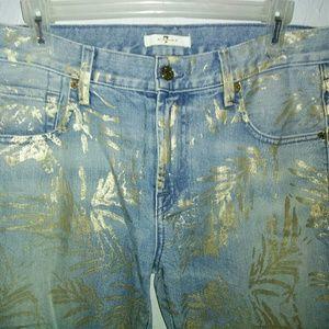 7 For All Mankind Jeans - New 7 for all Mankind Jeans 28 Crop Gold Foil